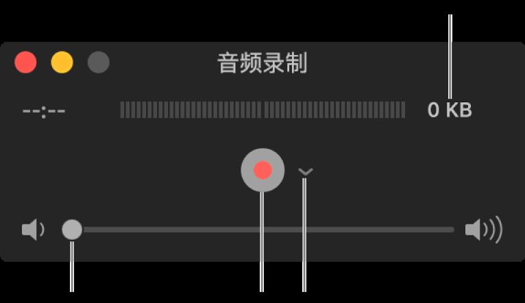 """""""音频录制""""窗口,窗口中间是""""录制""""按钮和""""选项""""弹出式菜单,底部是音量控制。"""