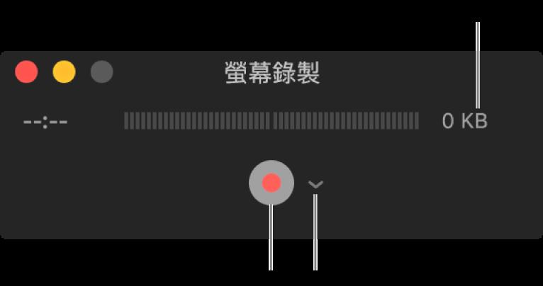 底部帶有「錄製」按鈕和其旁邊有「選項」彈出式選單的「螢幕錄製」視窗。