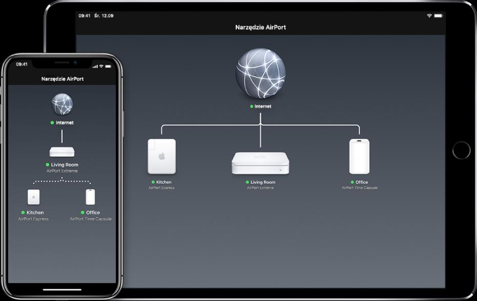 Schemat graficzny sieci, wyświetlany przez Narzędzie AirPort wsystemie iOS.