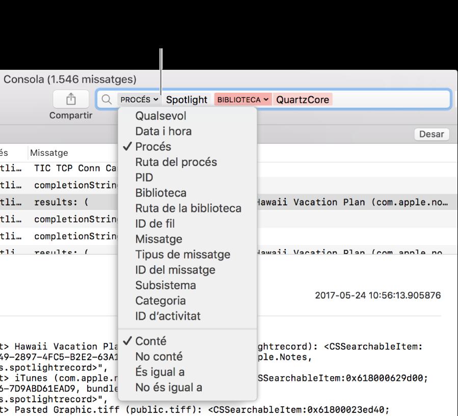 El camp de cerca apareix a la part superior de la finestra de la Consola i conté dos filtres de cerca. Apareixerà un menú a sota d'un dels filtres quan facis clic a la fletxa situada al costat del filtre. L'usuari pot afinar els resultats de la cerca canviant el filtre, afegint diversos filtres o afinant el filtre.