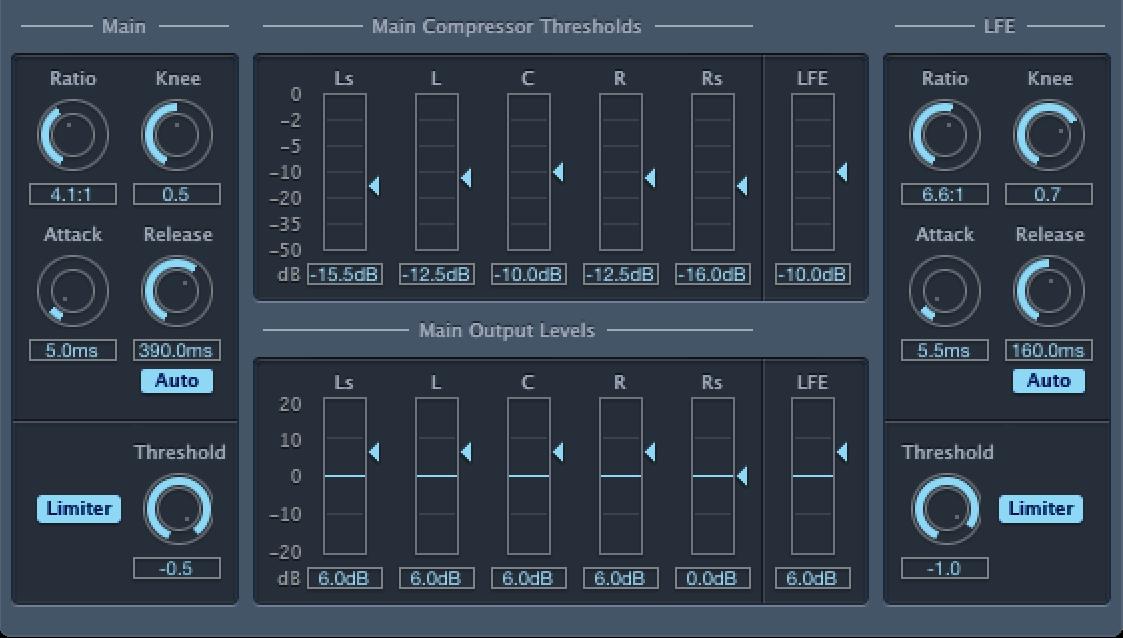 Die Hauptsteuerungen von Surround Compressor
