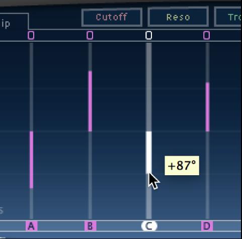 The Delay Designer Tap display, showing a pan edit.