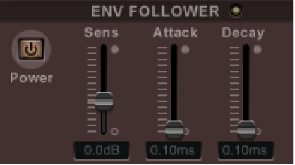 The Ringshifter Envelope Follower controls.
