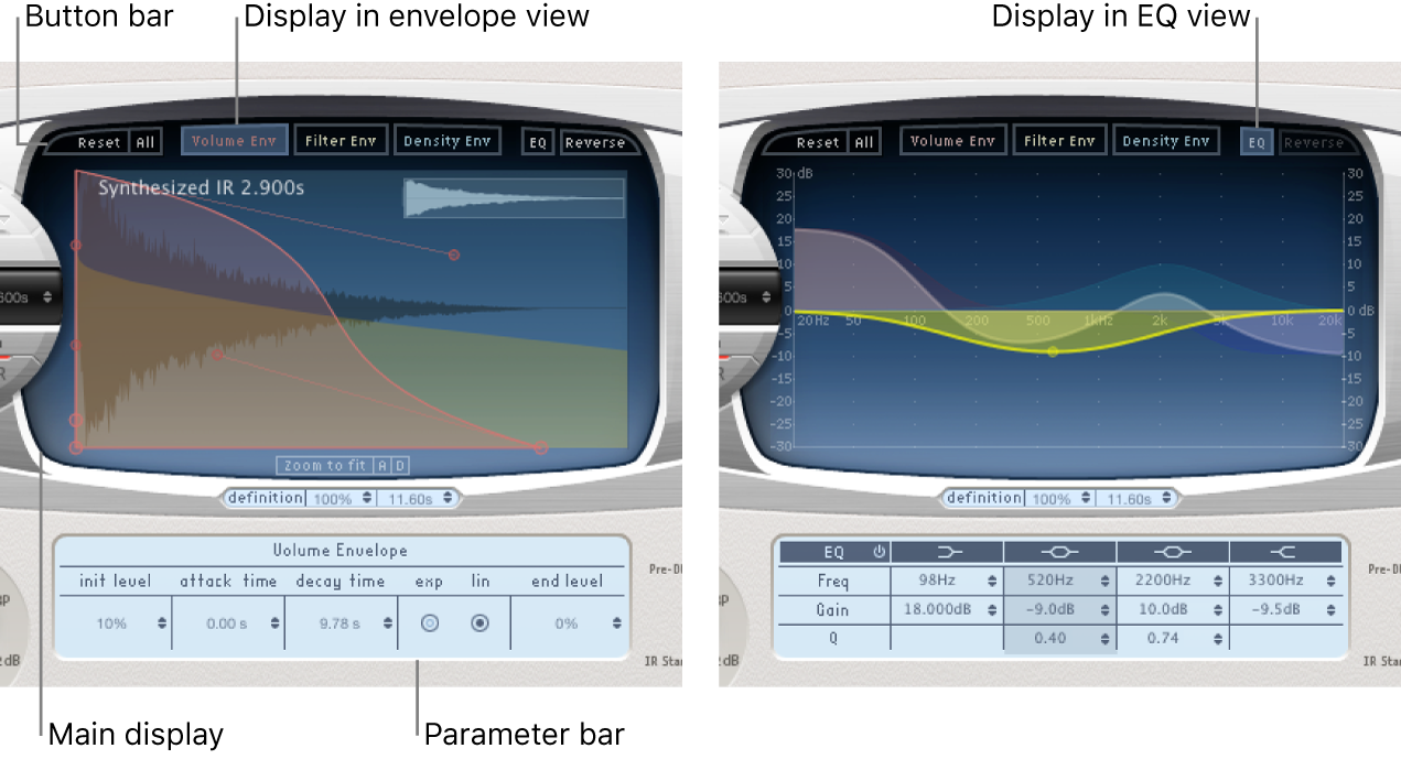 The Space Designer Envelope and EQviews.