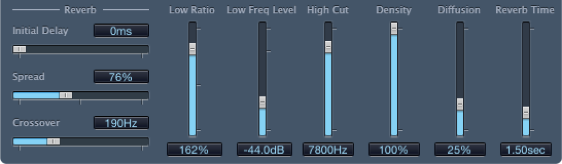 PlatinumVerb Reverb controls.