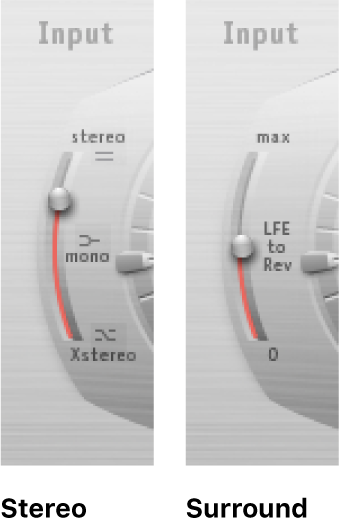 The Space Designer Input slider, shown in stereo and surround modes.