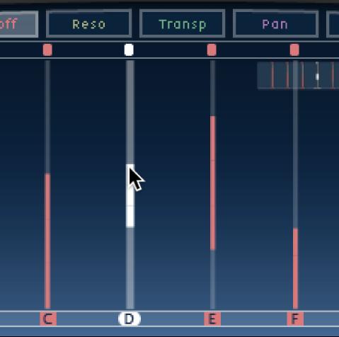 Pantalla Tap de DelayDesigner, mostrando la edición de un corte de filtro.