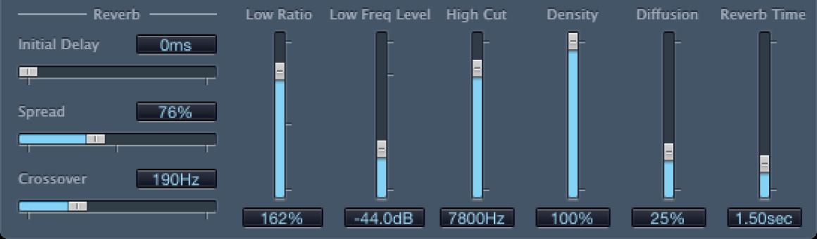 Controles de Reverb de PlatinumVerb.