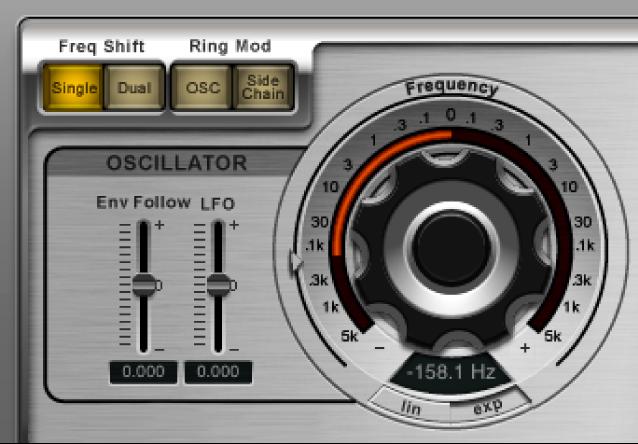 Commandes de l'oscillateur de Ringshifter.