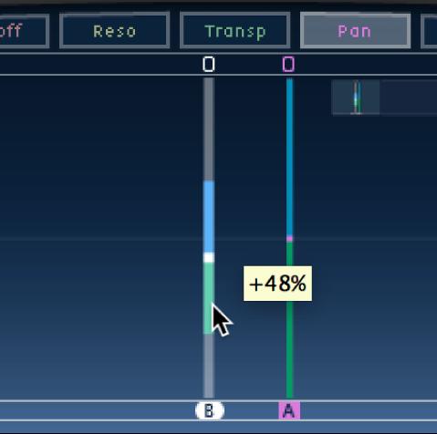 Écran Tap de Delay Designer avec une modification de champ stéréo.