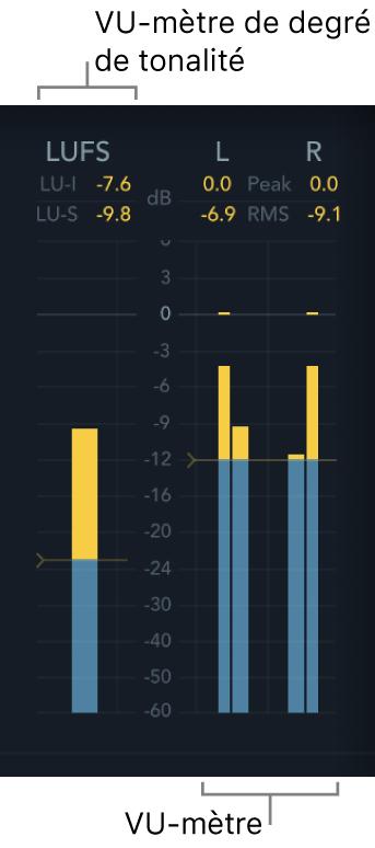 VU-mètres Loudness et Level de MultiMeter