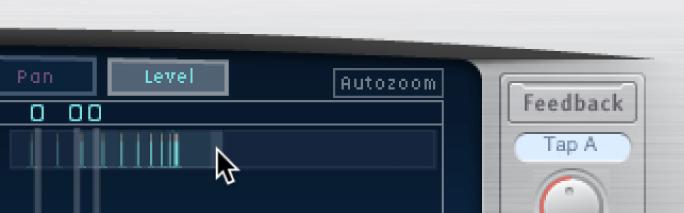 Glissement horizontal des barres en surbrillance de l'écran Overview de Delay Designer pour faire un zoom avant ou arrière sur l'écran Tap.