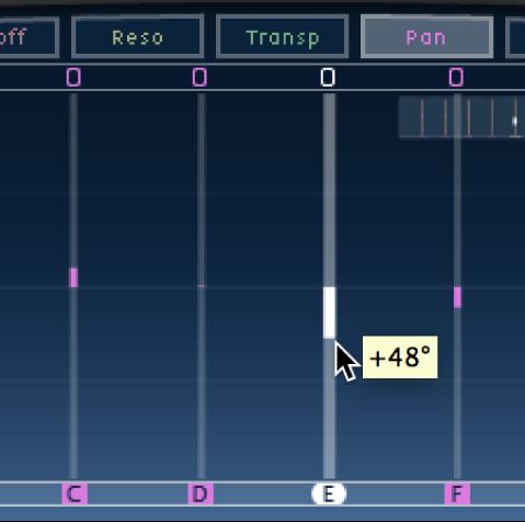 Tap en cours de glissement vertical dans l'écran Tap de Delay Designer.
