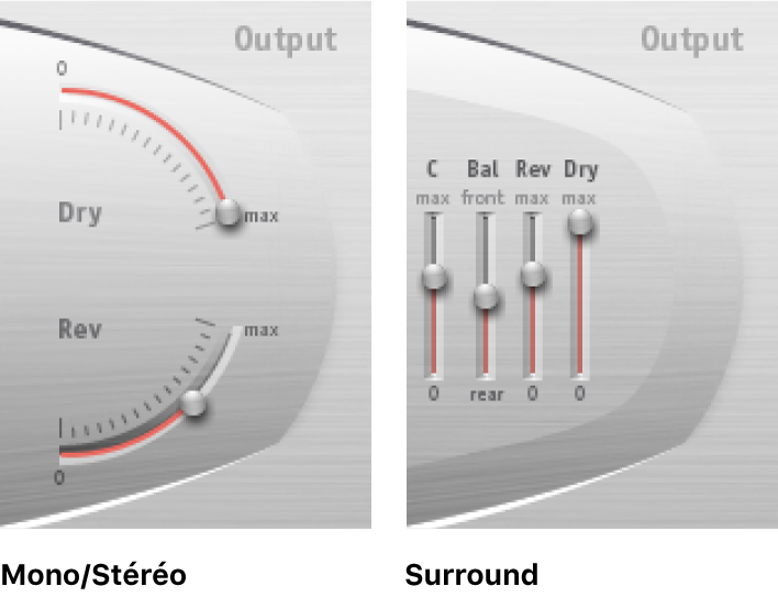 Commandes de sortie de SpaceDesigner en modes Stereo et Surround.