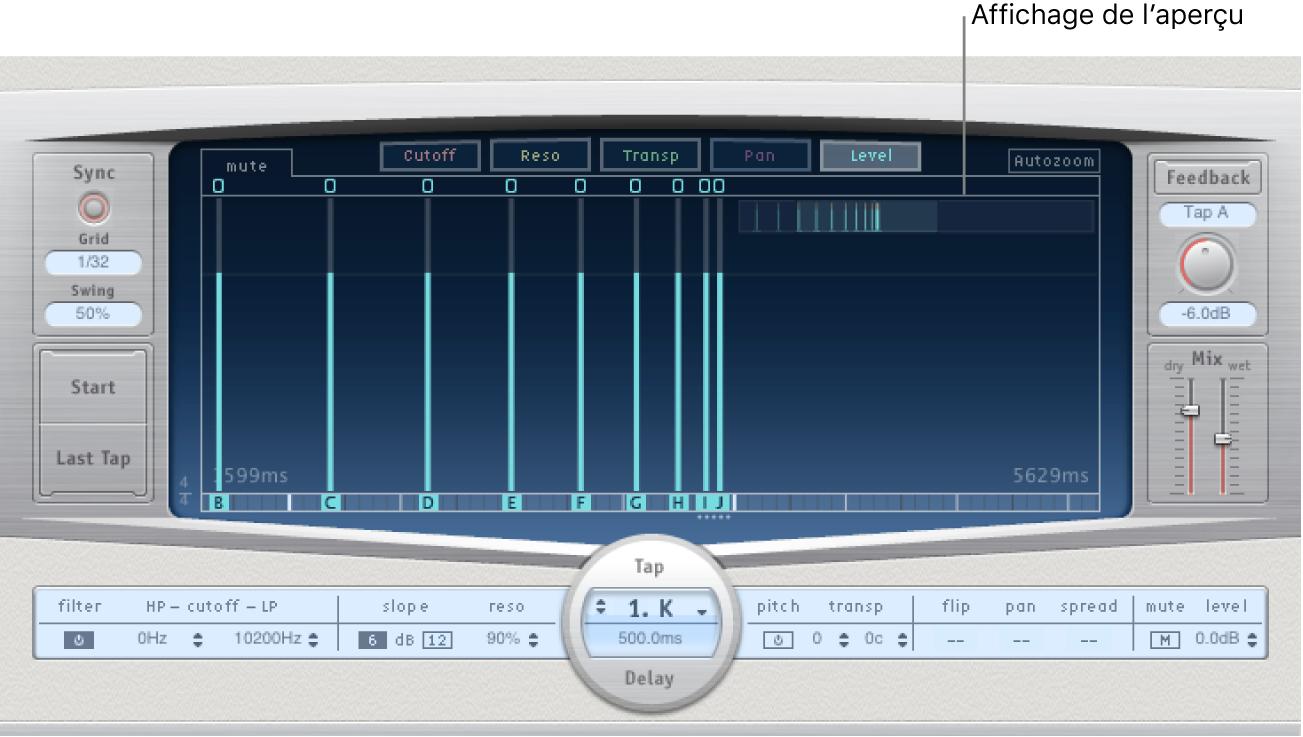Écran Overview dans le coin supérieur droit de la zone d'affichage Tap de DelayDesigner.