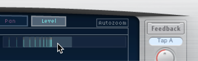 Glissement vertical de la section en surbrillance de l'écran Overview de Delay Designer pour faire un zoom avant ou arrière sur l'écran Tap.