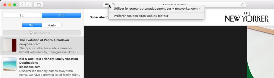 Fenêtre Safari avec une liste de lecture affichée.