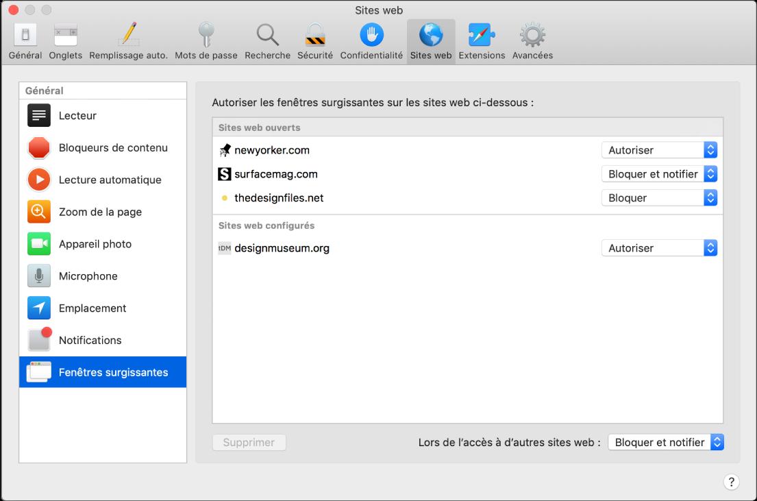 Préférences Sites web, qui vous permettent de personnaliser la façon dont vous parcourez les sites web dans Safari.