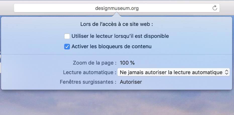 Menu du champ de recherche intelligente affichant les réglages du site web actuel.
