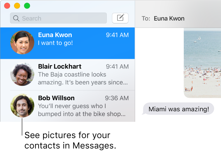 The sidebar from the Messages app showing people's pictures next to their names.