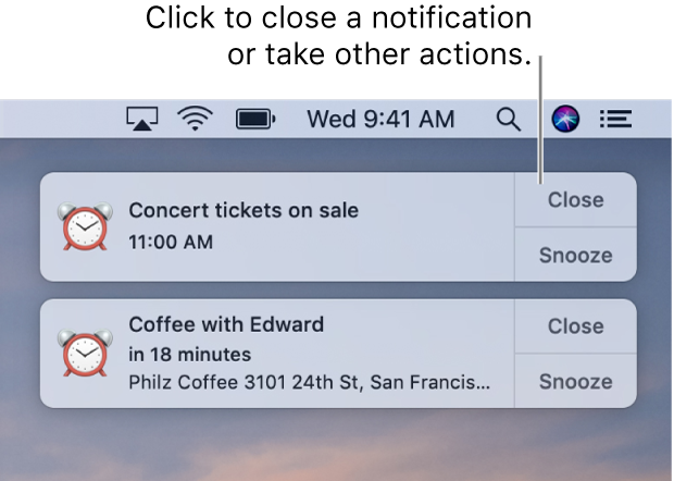 Notifications from the Calendar app in the upper-right corner of the screen.