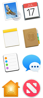 Mail, Calendar, Notes, Contacts, Reminders, Messages, Home, and News icons