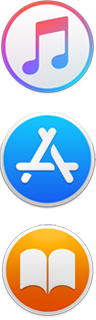 iTunes, App Store, and Apple Books icons