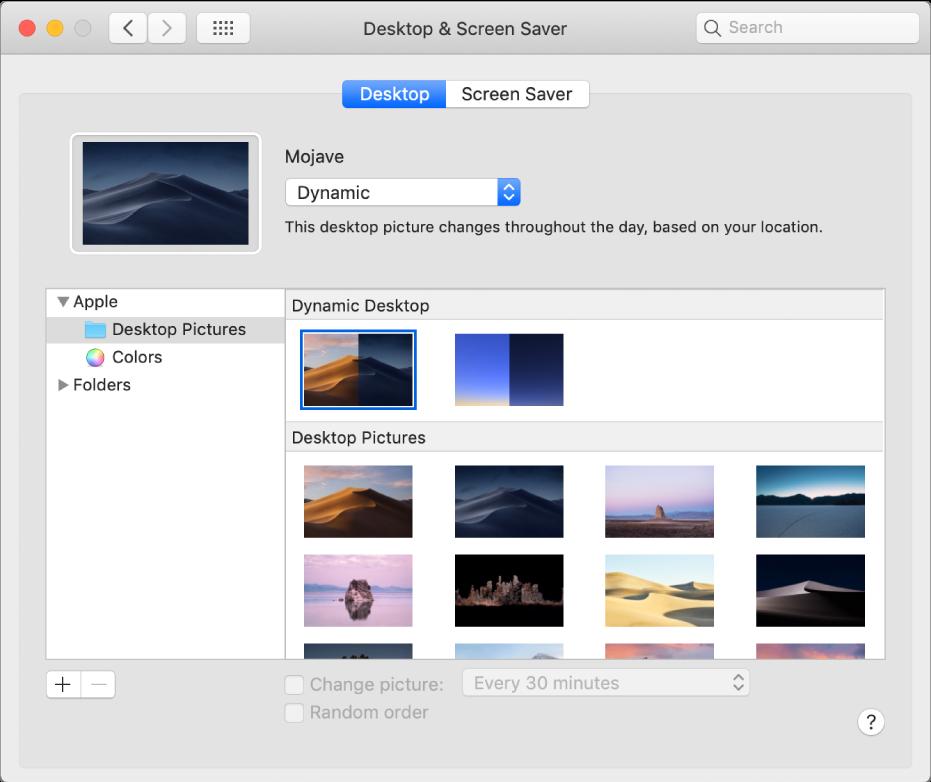 The Desktop pane of System Preferences.