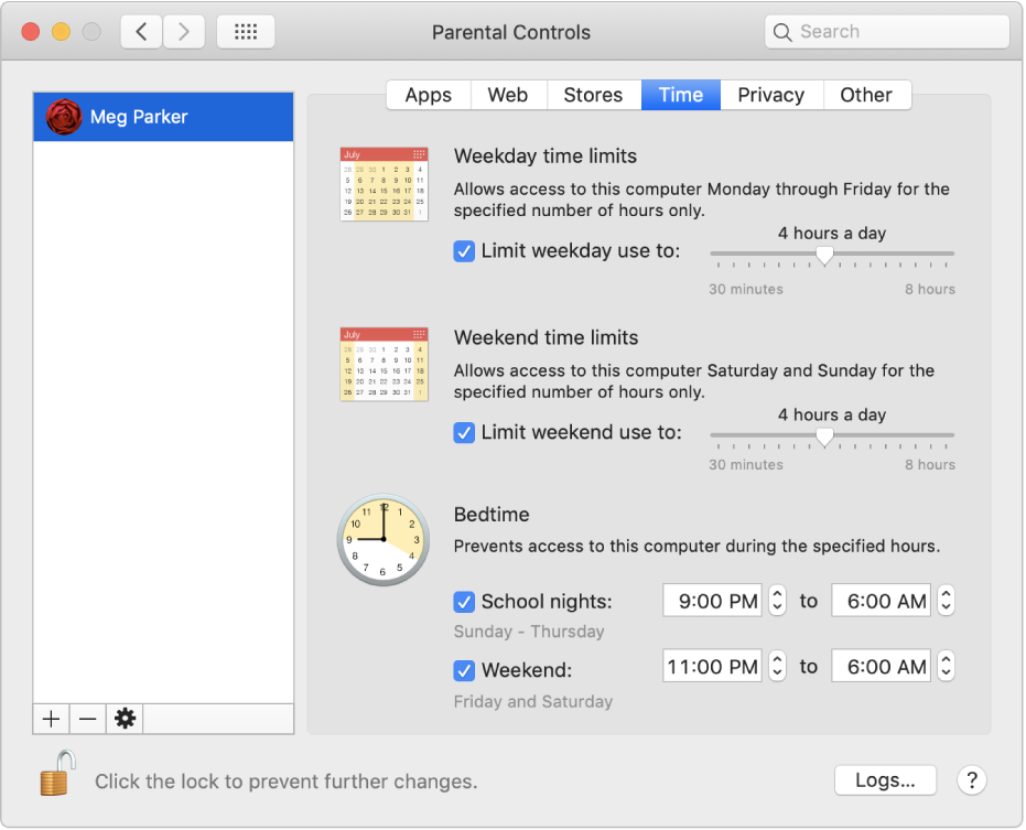 The Time pane in Parental Controls preferences showing weekday, weekend, and bedtime time limits.
