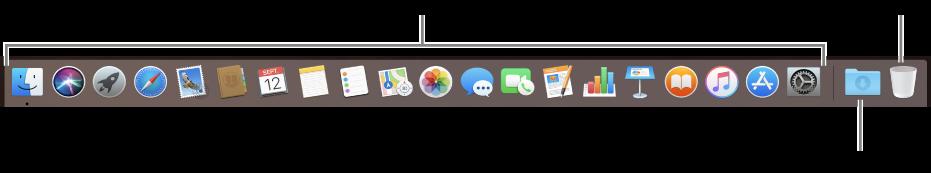 Le Dock affichant les icônes d'apps, la pile Téléchargements et la corbeille.