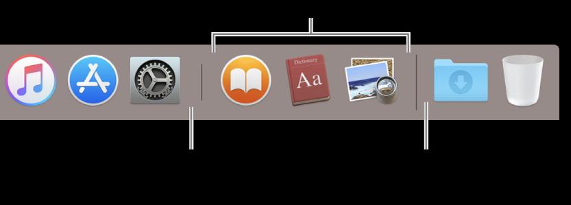 La ligne de séparation entre les apps et les fichiers et dossiers dans le Dock.