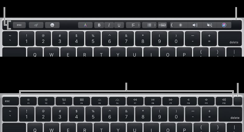 A billentyűzet jobb felső sarkában található Touch ID.