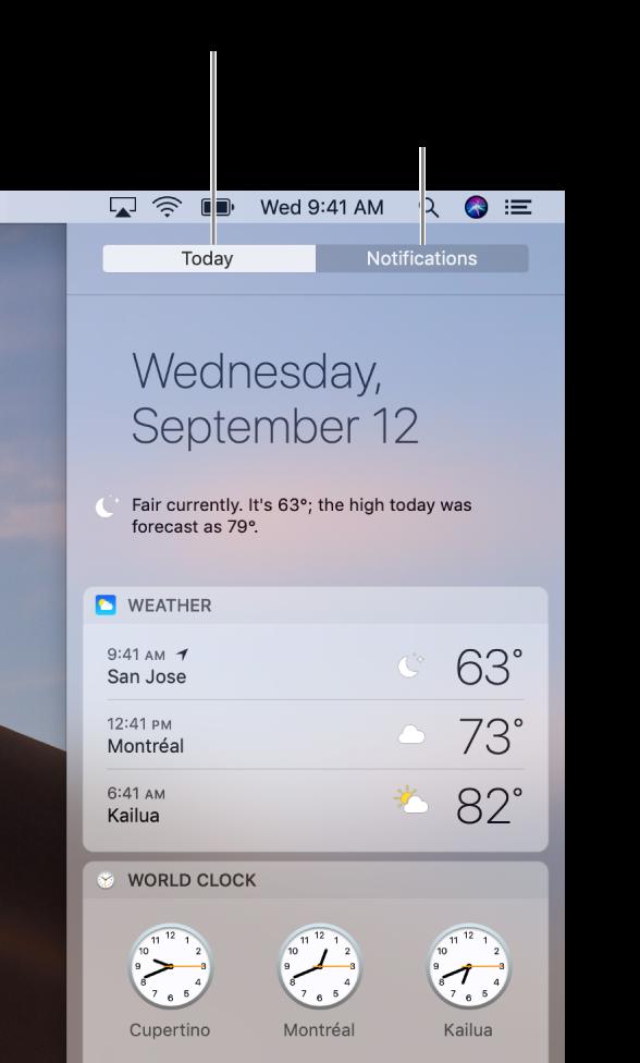 มุมมองวันนี้ที่กำลังแสดงสภาพอากาศในตำแหน่งสามแห่ง คลิกแถบการแจ้งเตือนเพื่อดูการแจ้งเตือนที่คุณพลาดไป