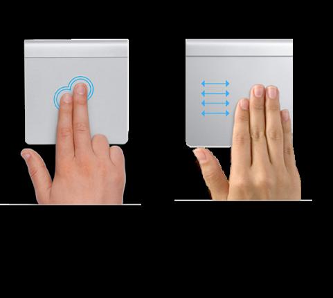 Bir web sayfasını büyütüp küçültmek ve tam ekran uygulamalar arasında geçiş yapmak için kullanılan örnek izleme dörtgeni hareketleri.
