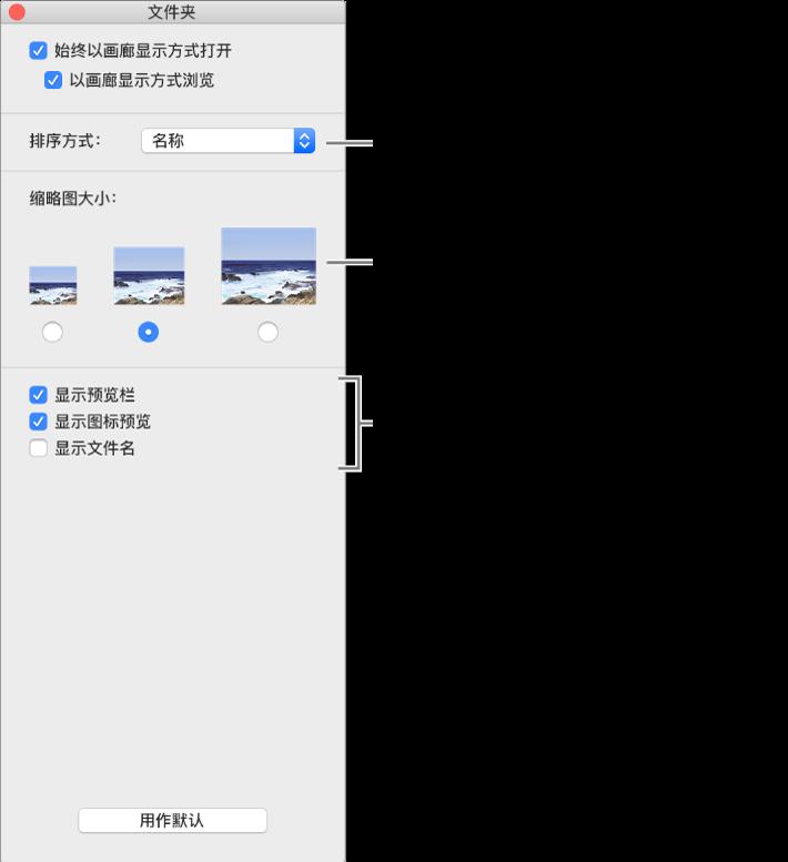 画廊显示选项:您可以选取项目的排序方式,选取缩略图的大小,在单独的分栏中显示所选项目的预览,以图标形式显示预览信息,以及显示文件名。