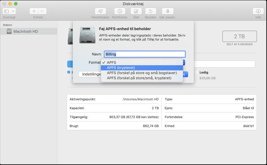 Muligheden APFS (krypteret) på menuen Format.