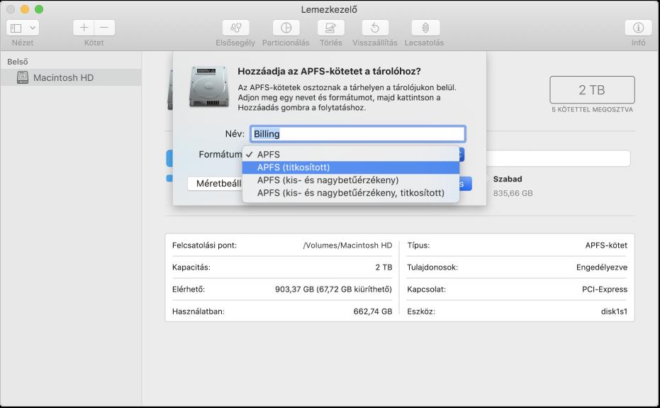 Az APFS (titkosított) beállítás a Formátum menüben.