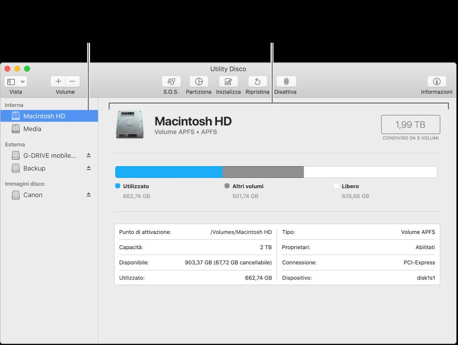 Finestra di Utility Disco che mostra un volume MacOS esteso.