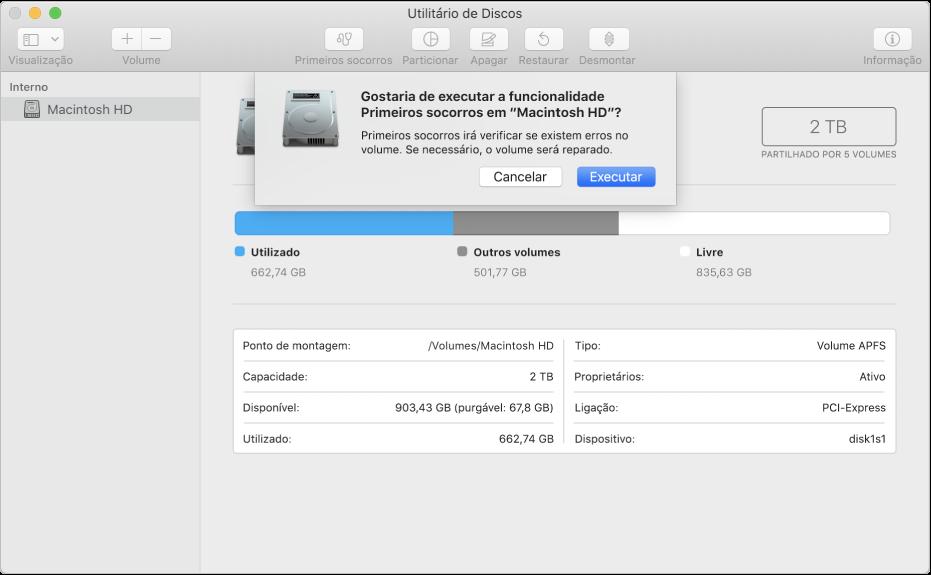 """A caixa de diálogo de """"Primeiros socorros"""" na barra de ferramentas do Utilitário de Discos."""