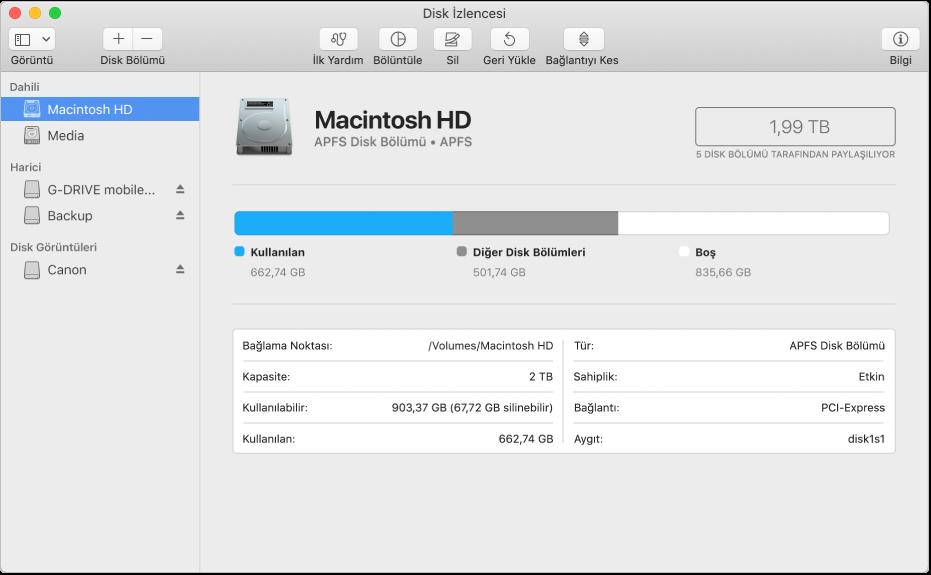 Disk İzlencesi kenar çubuğunda APFS kapsayıcısında dört disk bölümü.