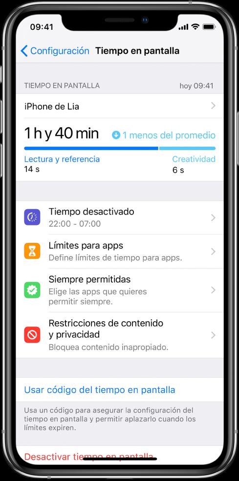 """Las configuraciones de """"Tiempo en pantalla"""" que puedes activar: """"Tiempo desactivado"""", """"Límites para apps"""", """"Siempre permitidas"""" y """"Restricciones de contenido y privacidad""""."""