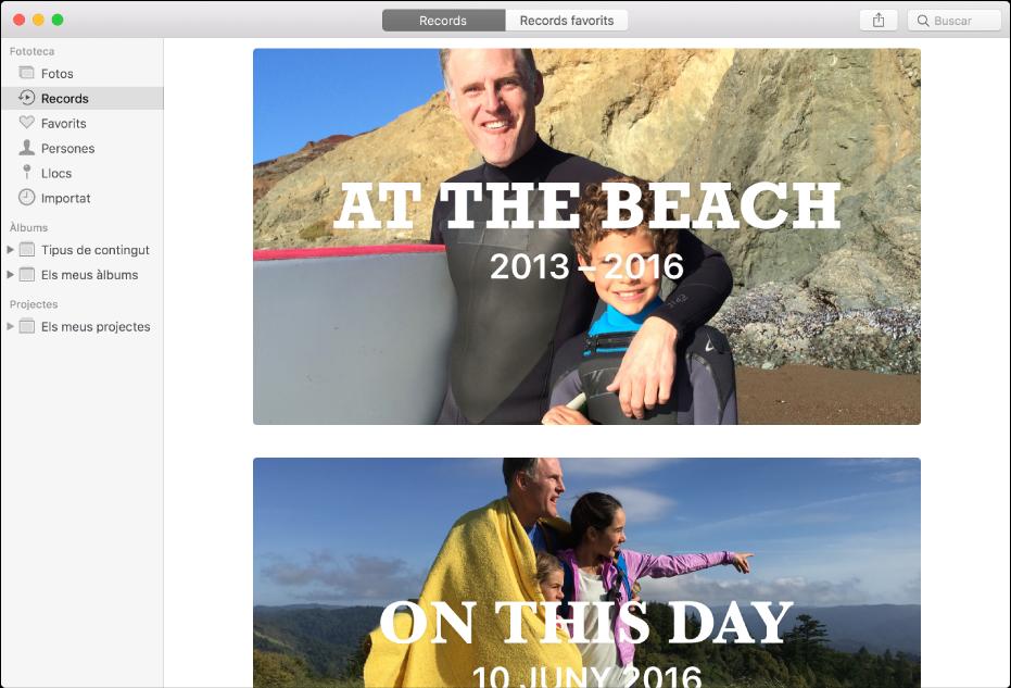 La finestra de l'app Fotos on es mostren records seleccionats a la barra lateral i dos records a la dreta.