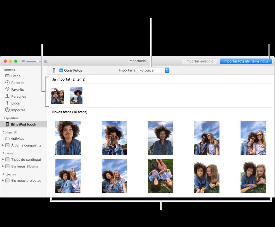 """Les fotos del dispositiu que ja has importat es mostren a la part superior del tauler i les noves fotos es mostren a la part inferior. A la part superior central hi ha el menú desplegable """"Importar a"""". El botó """"Importar totes les fotos noves"""" és a la part superior dreta."""