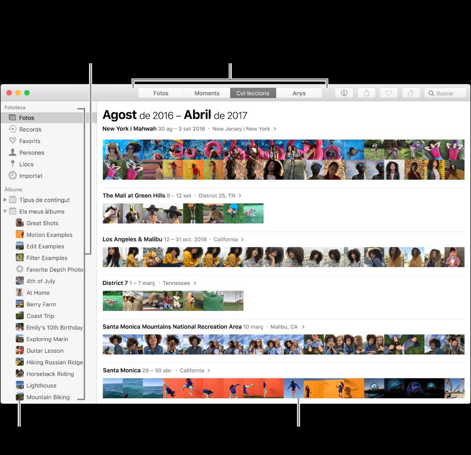 La finestra de l'app Fotos que mostra fotos organitzades per col·lecció.