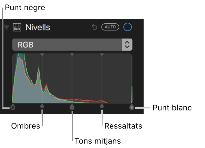 Els controls de nivell a l'histograma corresponent a RGB (d'esquerra a dreta): punt negre, ombres, tons mitjans, ressaltats i punt blanc.