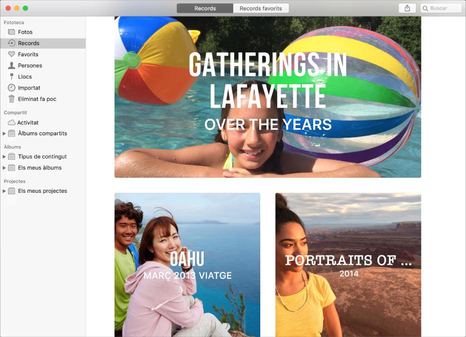 La finestra de l'app Fotos on es mostren records seleccionats a la barra lateral i diversos records a la finestra.