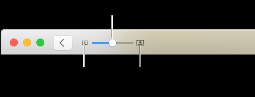 La barra d'eines que mostra els controls de zoom.