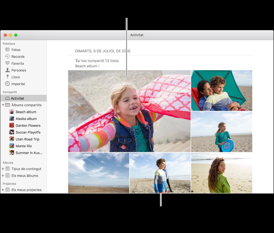 La finestra de l'app Fotos, que mostra l'àlbum Activitat.