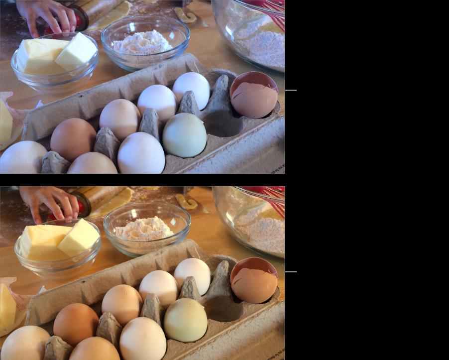 Una foto, abans i després d'aplicar-hi l'ajust del balanç de blancs.