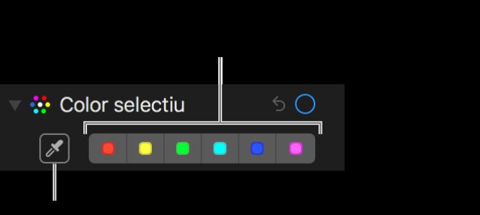 """Els controls """"Color selectiu"""" amb el botó del comptagotes i mostres de color."""
